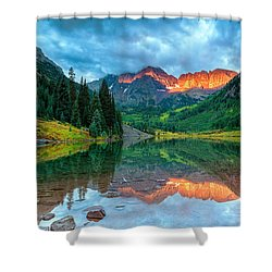 Maroon Bells Sunrise Shower Curtain