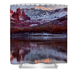 Shower Curtain featuring the photograph Maroon Fisher Towers by Adam Jewell