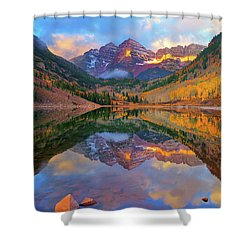 Maroon Lake Dawn Shower Curtain
