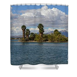 Marooned Palms Shower Curtain