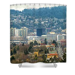 Marquam Bridge By Portland City Skyline Panorama Shower Curtain by David Gn