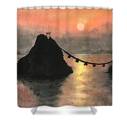 Married Couple Rocks At Sunset Shower Curtain