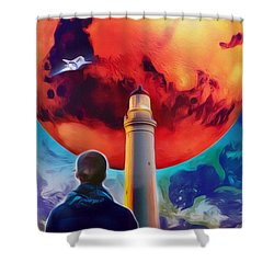 Shower Curtain featuring the painting Mars Dreamer by Ted Azriel