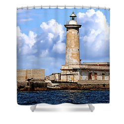 marsala lighthouse shower curtain by anthony dezenzio