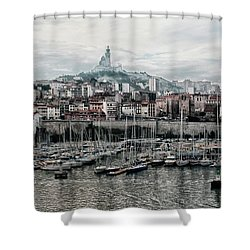 Marseilles France Harbor Shower Curtain by Alan Toepfer