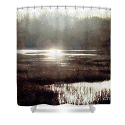 Shower Curtain featuring the photograph Marsh Moods - At The End Of The Day - Horizontal by Janine Riley