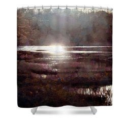 Shower Curtain featuring the photograph Marsh Moods - At The End Of The Day - Vertical by Janine Riley