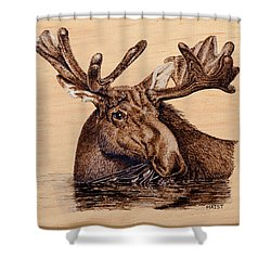 Marsh Moose Shower Curtain