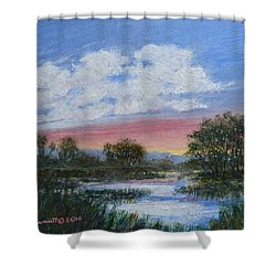 Shower Curtain featuring the painting Marsh Reflections by Kathleen McDermott