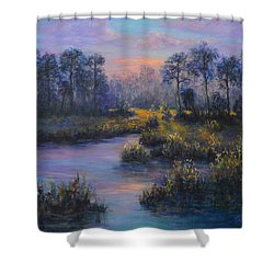Marsh Sunset Nature Wetland Trees Print Of Panting Shower Curtain