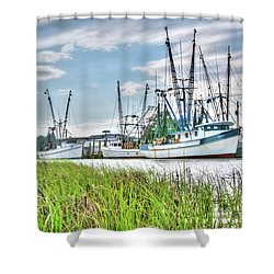 Marsh View Shrimp Boats Shower Curtain