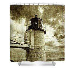 Marshall Point Lighthouse Sepia Distessed Antique Look Shower Curtain