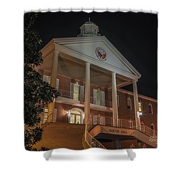 Shower Curtain featuring the photograph Martin Hall Night 01 by Gregory Daley  PPSA