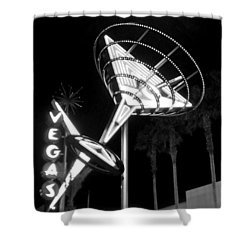 Martini Sign In Vegas B-w Shower Curtain