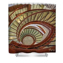 Shower Curtain featuring the photograph Marttin Hall Spiral Stairway by Gregory Daley  PPSA