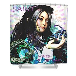 Shower Curtain featuring the painting Martyr Of Vietnam Saint Agnes Le Thi Thanh by Suzanne Silvir