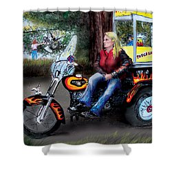 Marty's Harley Shower Curtain by Albert Puskaric