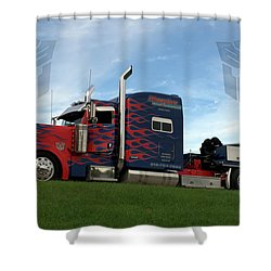 Transformers Optimus Prime Tow Truck Shower Curtain by Tim McCullough