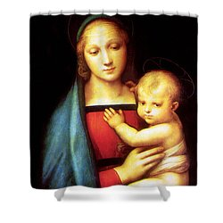 Mary And Baby Jesus Shower Curtain by Munir Alawi