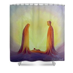 Mary And Joseph Look With Faith On The Child Jesus At His Nativity Shower Curtain