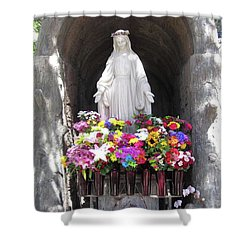 Mary At The Mission Shower Curtain by Mary Ellen Frazee