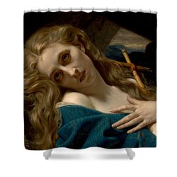 Mary Magdalene In The Cave Shower Curtain by Hugues Merle