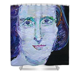 Shower Curtain featuring the painting Mary Shelley - Oil Portrait by Fabrizio Cassetta