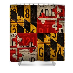 Maryland State Flag Recycled Vintage License Plate Art Shower Curtain by Design Turnpike