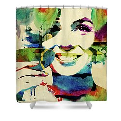 Marilyn And Her Drink Shower Curtain by Mihaela Pater