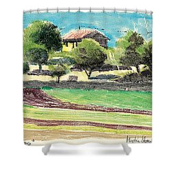 Shower Curtain featuring the painting mas en Provence landscape by Martin Stankewitz