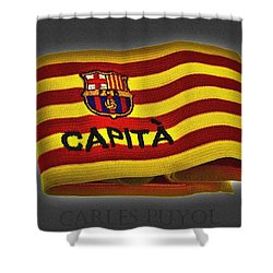 Shower Curtain featuring the photograph Mas Que Un Capitan - Carles Puyol by Juergen Weiss