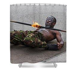 Masai Dancer With Fire Limbo Shower Curtain