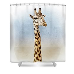 Masai Giraffe Closeup Square Shower Curtain