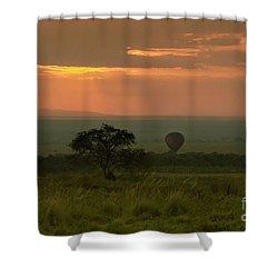 Shower Curtain featuring the photograph Masai Mara Balloon Sunrise by Karen Lewis