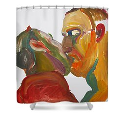 Masculine Kiss Shower Curtain