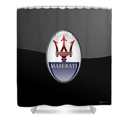 Maserati - 3d Badge On Black Shower Curtain by Serge Averbukh
