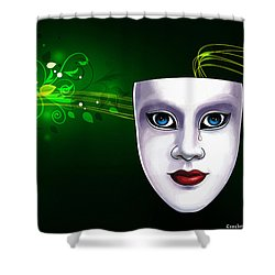 Mask Blue Eyes On Green Vines Shower Curtain by Gary Crockett
