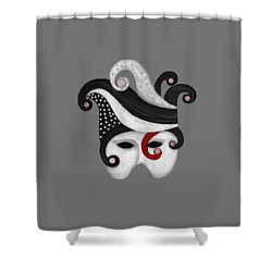 Mask In Black And White With Red Shower Curtain