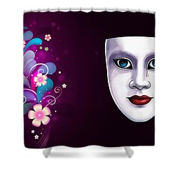 Mask With Blue Eyes Floral Design Shower Curtain by Gary Crockett