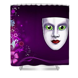 Shower Curtain featuring the photograph Mask With Green Eyes On Pink Floral Background by Gary Crockett