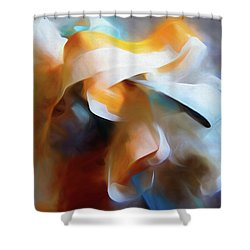 Shower Curtain featuring the mixed media Masking Tape And Paint Composition by Lynda Lehmann