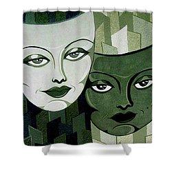 Masks Verde Shower Curtain