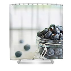 Mason Jar Full Of Blueberries Shower Curtain