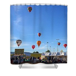 Shower Curtain featuring the photograph Mass Ascension Taos Balloon Festival by Brenda Pressnall
