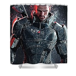 Mass Effect Shower Curtain by Taylan Apukovska
