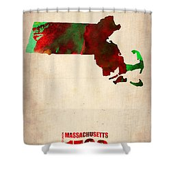 Massachusetts Watercolor Map Shower Curtain by Naxart Studio