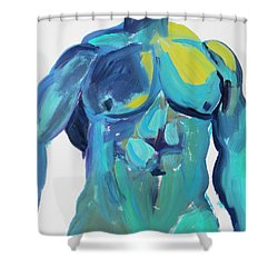 Massive Hunk Blue-green Shower Curtain