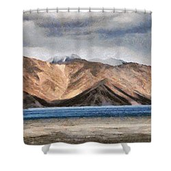 Massive Mountains And A Beautiful Lake Shower Curtain