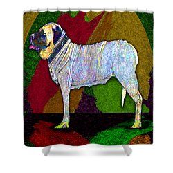 Shower Curtain featuring the digital art Mastiffically Colorful by Michelle Audas