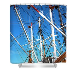 Shower Curtain featuring the photograph Masts At Barnegat Bay by John Rizzuto